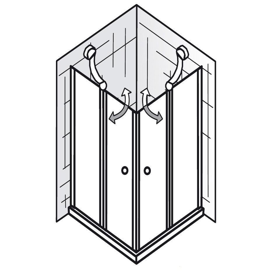 hsk exklusiv eckeinstieg 4 teilig 80 x 80 x 185 cm 425014 01 50 185cm megabad. Black Bedroom Furniture Sets. Home Design Ideas