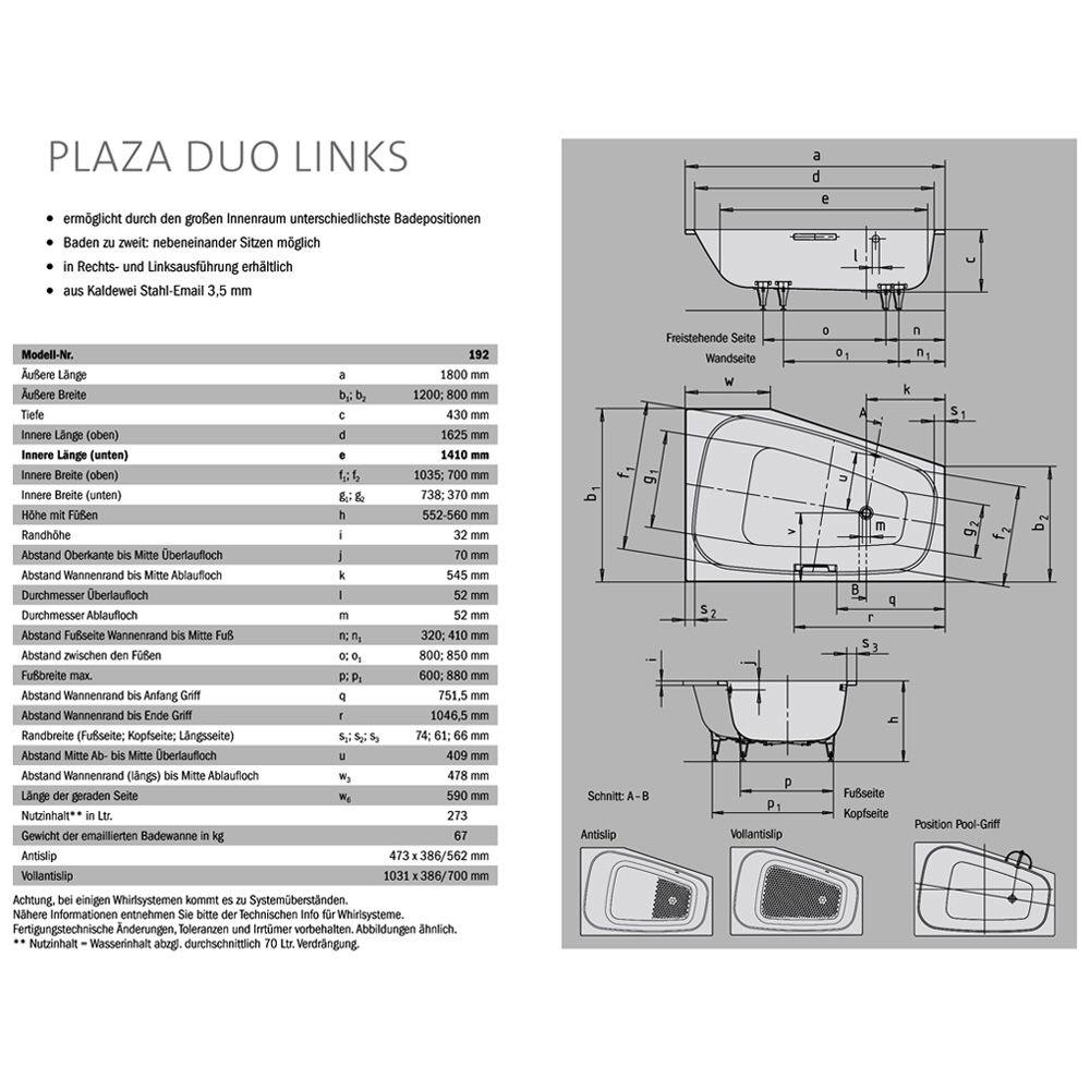 kaldewei plaza duo links 237200013001 vivovarioplus megabad. Black Bedroom Furniture Sets. Home Design Ideas