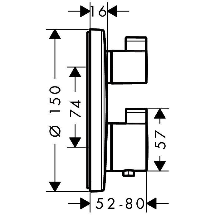 hansgrohe ecostat s up thermostat 15758000 f r 2 verbraucher megabad. Black Bedroom Furniture Sets. Home Design Ideas