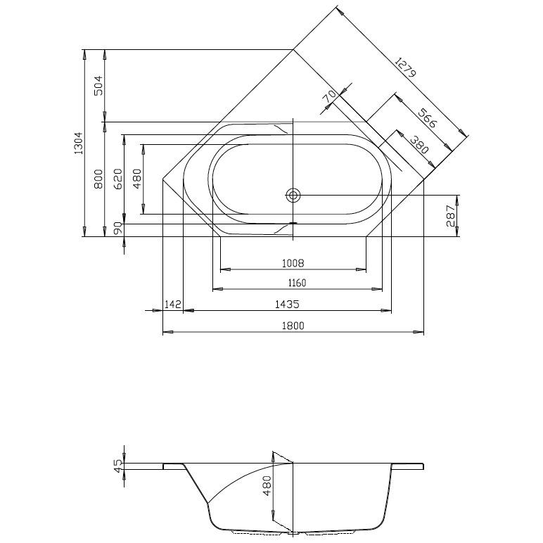 hoesch spectra sechseckwanne 180 x 80 cm megabad. Black Bedroom Furniture Sets. Home Design Ideas