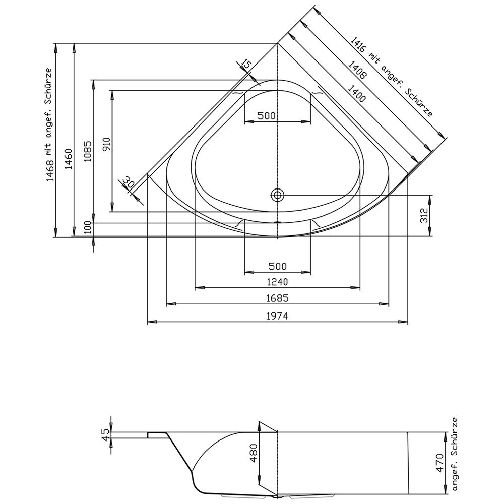 Hoesch Spectra 140 cm Eckbadewanne ohne Schürze 3653.010 - MEGABAD | {Eckbadewanne schürze 65}