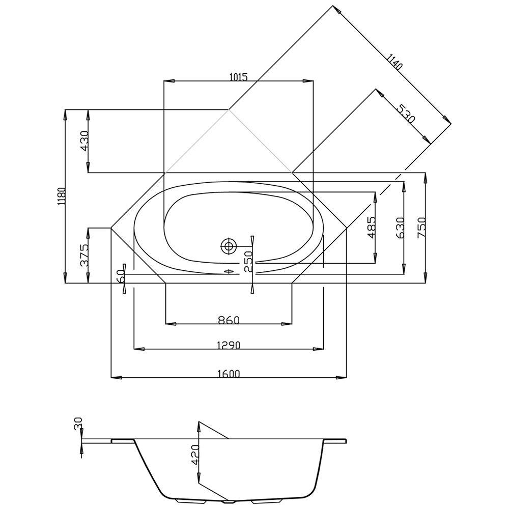 Sechseck badewanne maße  Hoesch Armada 160 x 75 cm 6173.010 - MEGABAD
