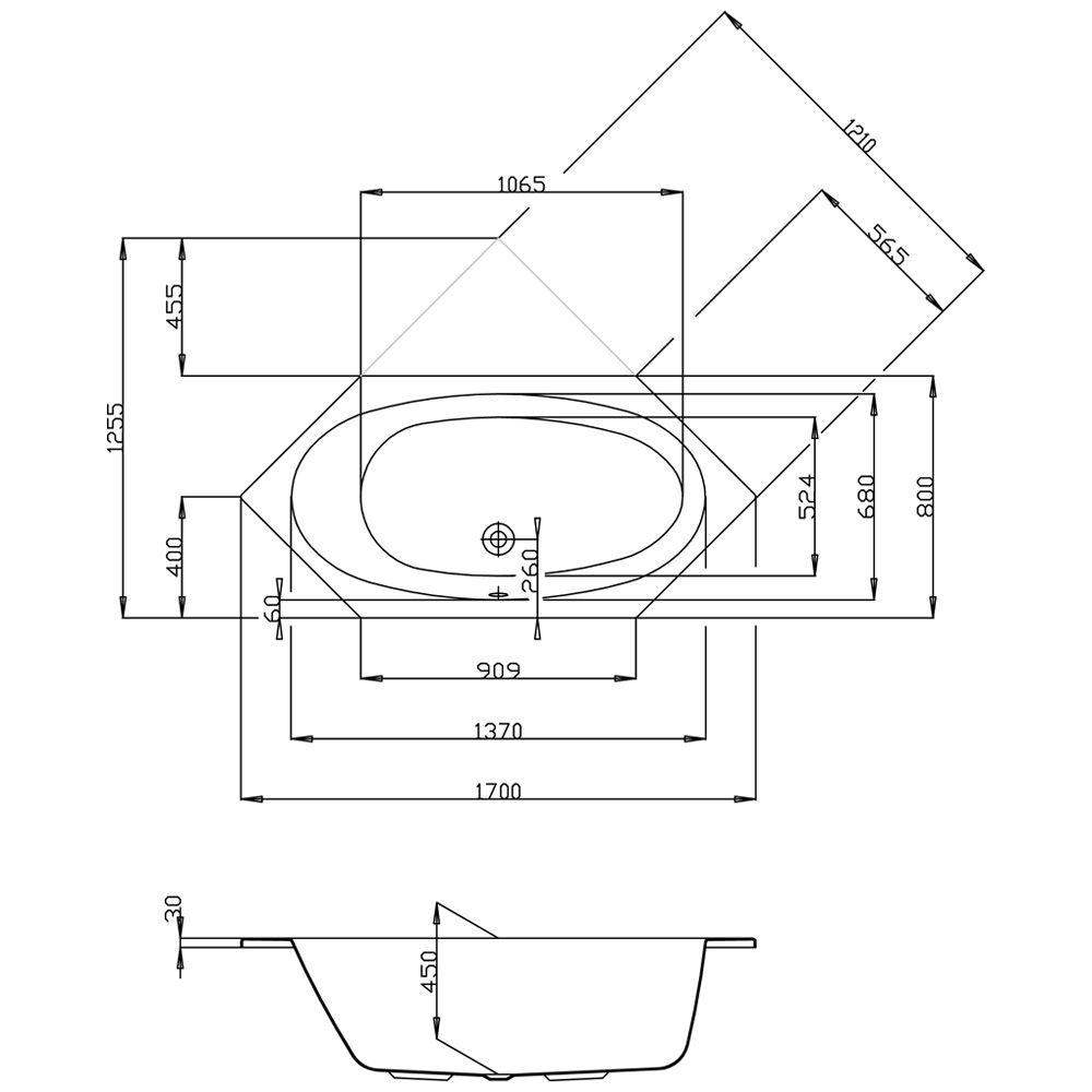 Sechseckbadewanne  Hoesch Armada Sechseck-Badewanne 170 x 80 cm 6174.010 - MEGABAD