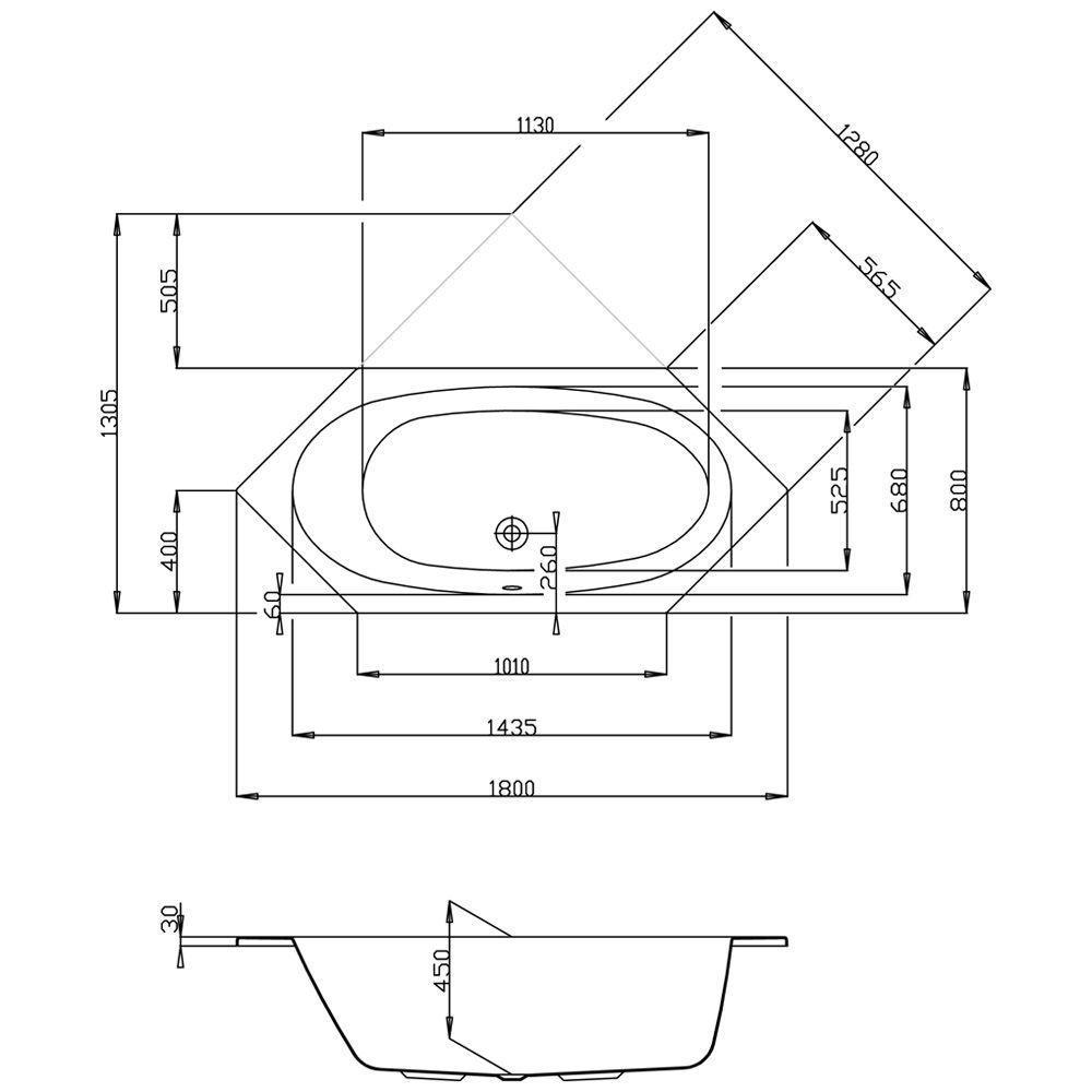 hoesch armada sechseck badewanne 180 x 80 cm megabad. Black Bedroom Furniture Sets. Home Design Ideas