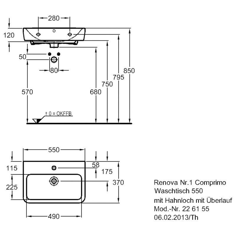 keramag renova nr 1 comprimo neu waschtisch 55 cm 226155 megabad. Black Bedroom Furniture Sets. Home Design Ideas