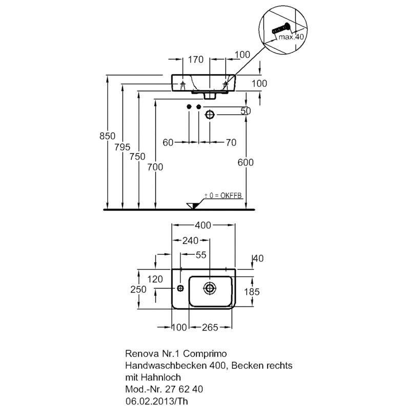 keramag renova nr 1 comprimo neu handwaschbecken hahnloch links megabad. Black Bedroom Furniture Sets. Home Design Ideas
