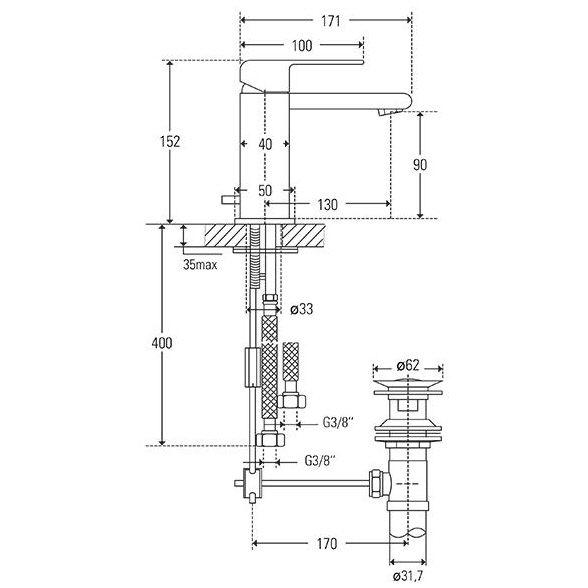Gut Treos Serie 178 Einhebel-Waschtischarmatur mit Ablaufgarnitur  VN49