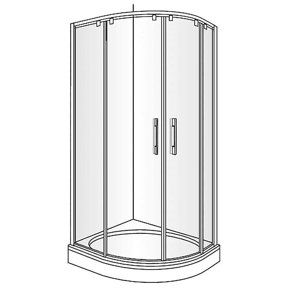duscholux carat round runddusche mit 2 schiebet ren 90 x 90 cm megabad. Black Bedroom Furniture Sets. Home Design Ideas