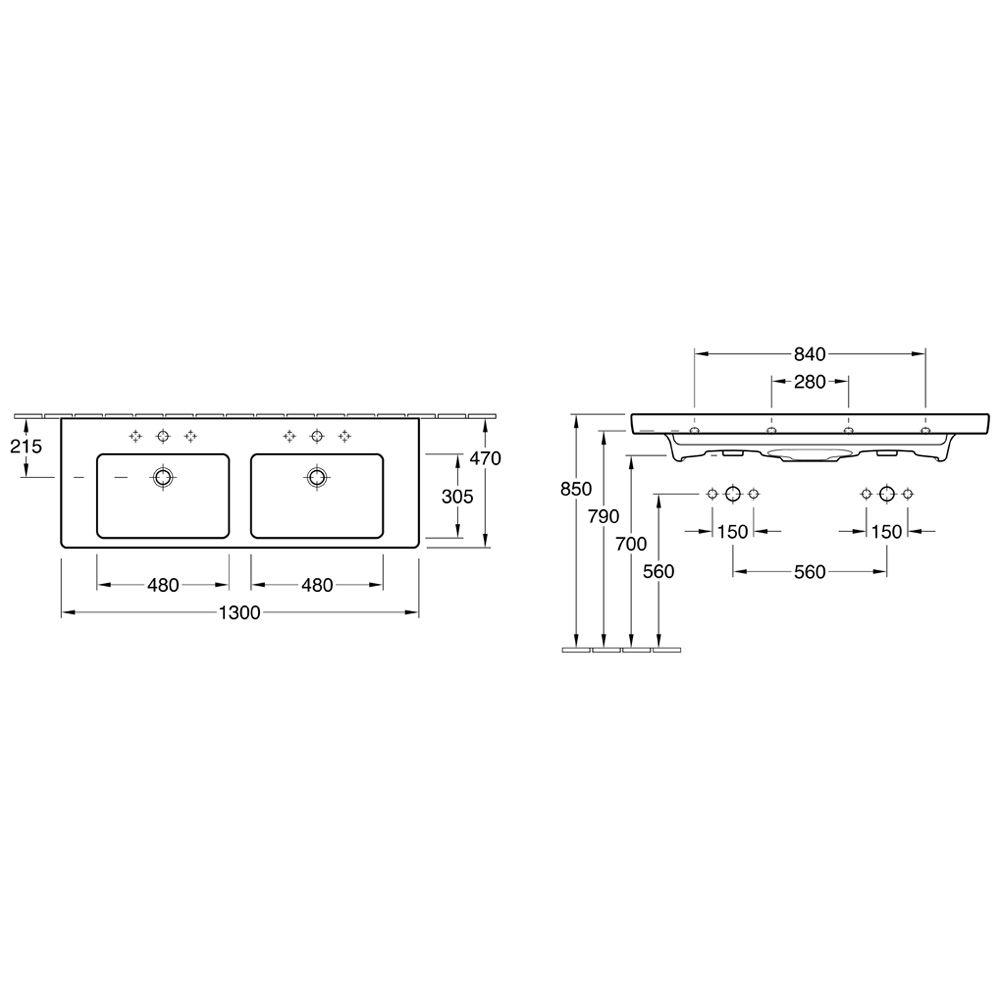 villeroy boch subway 2 0 schrank doppelwaschtisch nr 7175d101 megabad. Black Bedroom Furniture Sets. Home Design Ideas