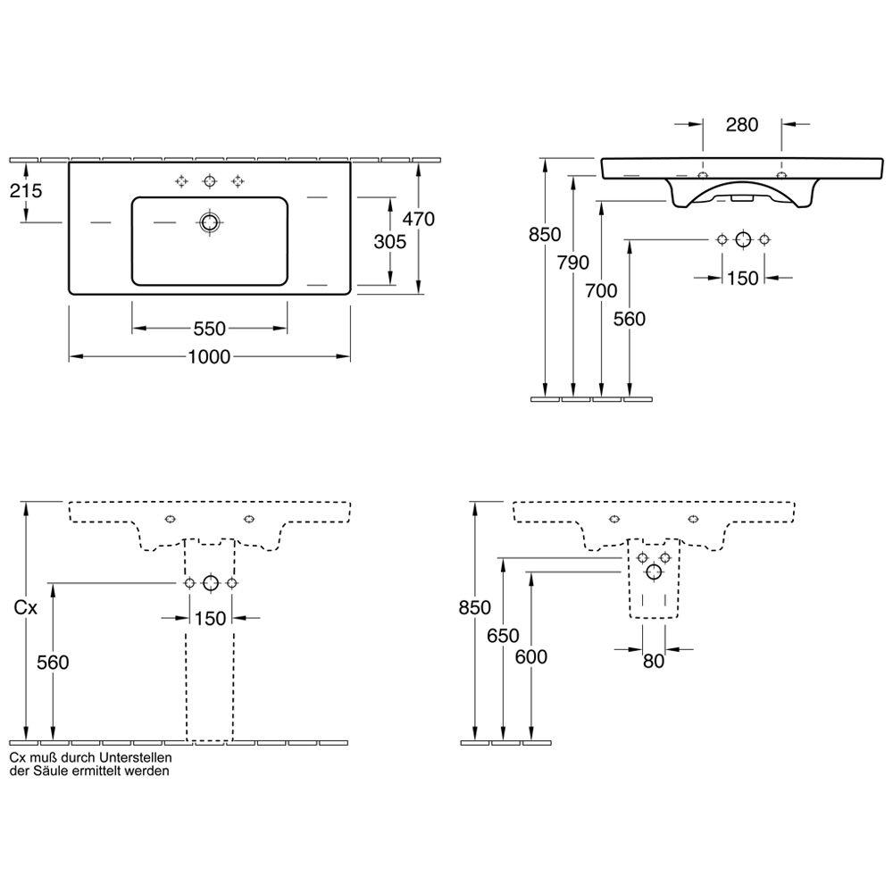 villeroy boch subway 2 0 schrankwaschtisch 7175a001. Black Bedroom Furniture Sets. Home Design Ideas