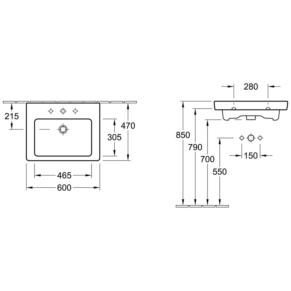 villeroy boch subway 2 0 m bel waschtisch 60 cm 7113f001. Black Bedroom Furniture Sets. Home Design Ideas