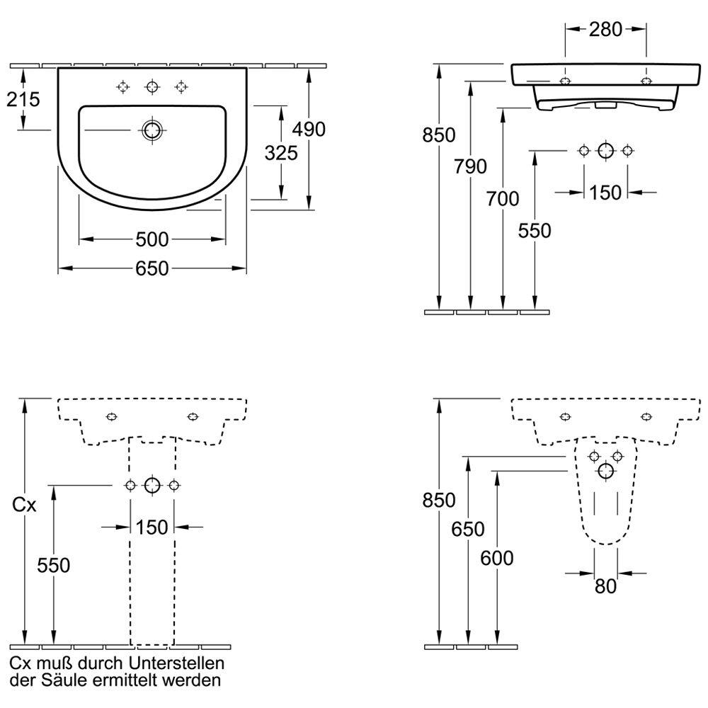 villeroy boch subway 2 0 waschtisch waschbecken 711467 megabad. Black Bedroom Furniture Sets. Home Design Ideas