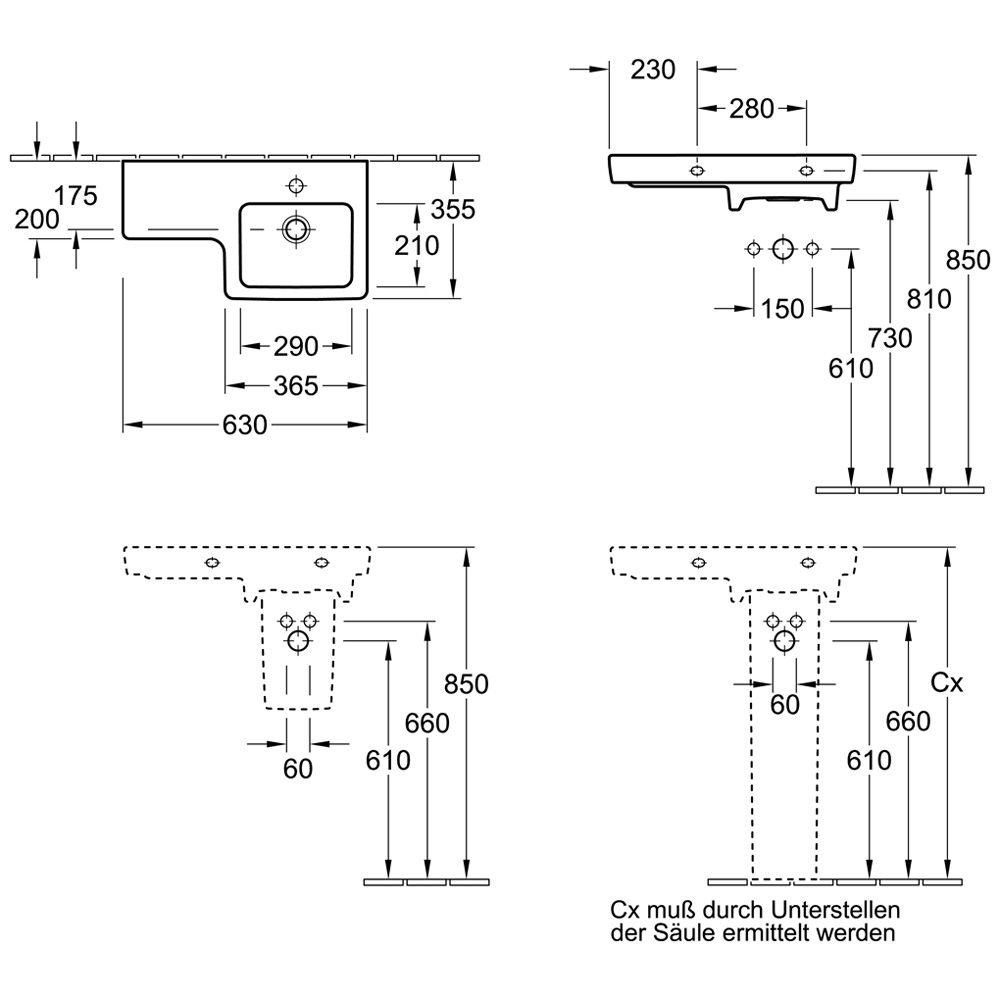 waschtisch v b subway 2 0 villeroy boch subway 2 0. Black Bedroom Furniture Sets. Home Design Ideas