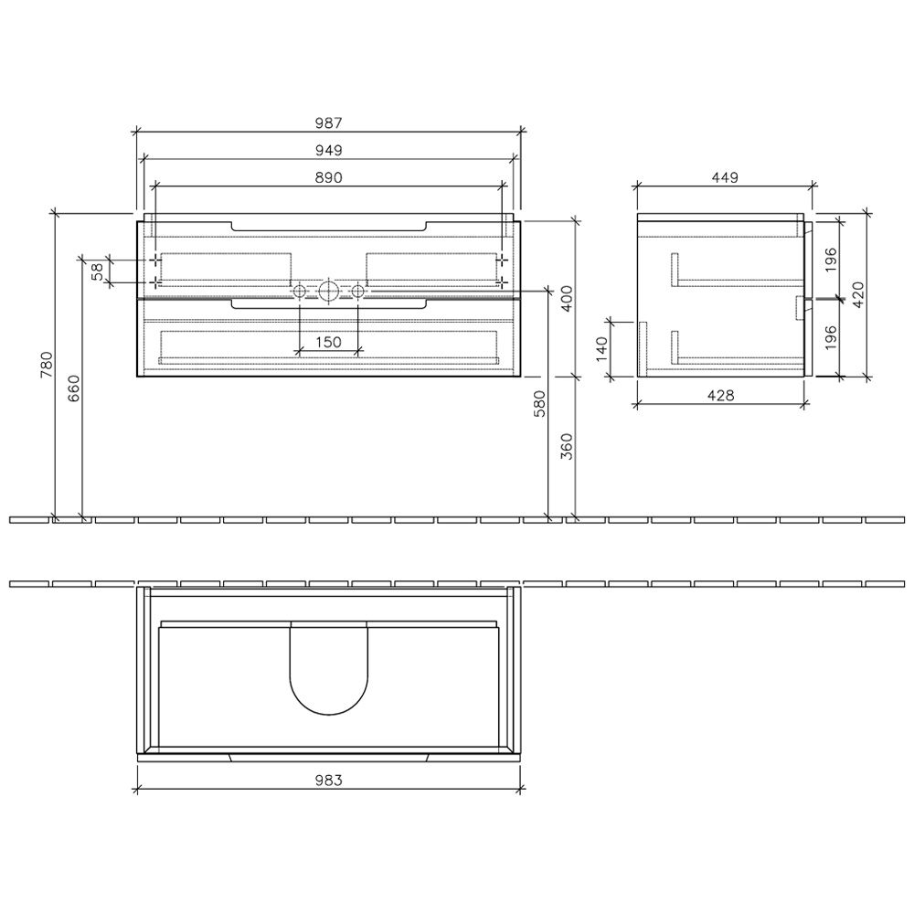 villeroy boch subway 2 0 waschtischunterschrank 98 7 cm a69010ms megabad. Black Bedroom Furniture Sets. Home Design Ideas