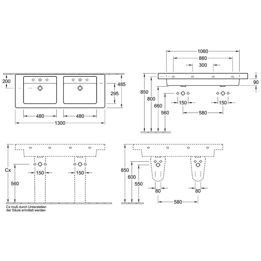 doppelwaschtisch ma e. Black Bedroom Furniture Sets. Home Design Ideas