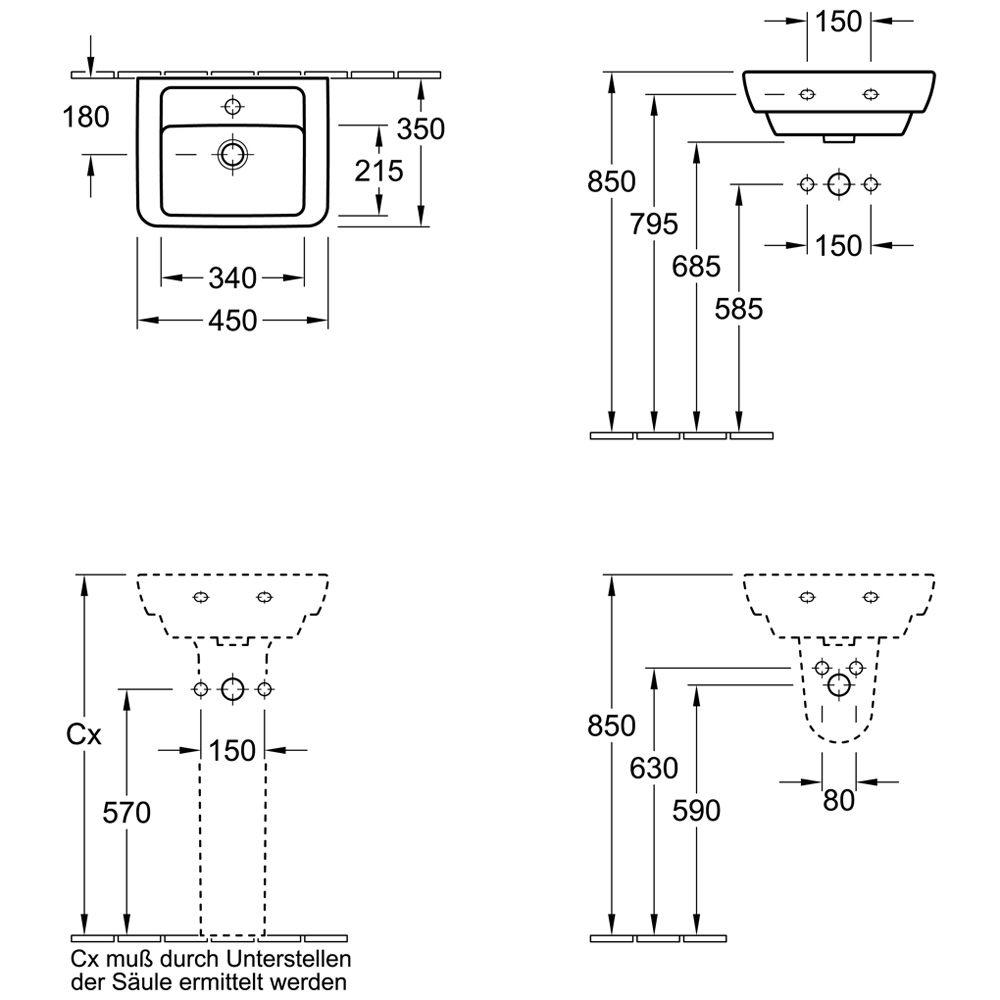 villeroy boch subway halbs ule f r handwaschbecken und waschtisch. Black Bedroom Furniture Sets. Home Design Ideas