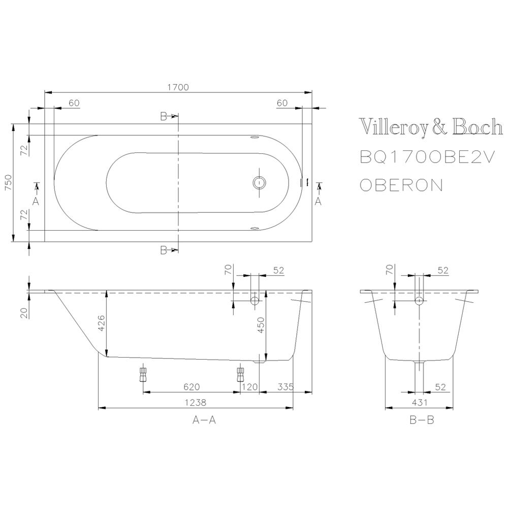 villeroy boch oberon solo badewanne 170 x 75 cm. Black Bedroom Furniture Sets. Home Design Ideas