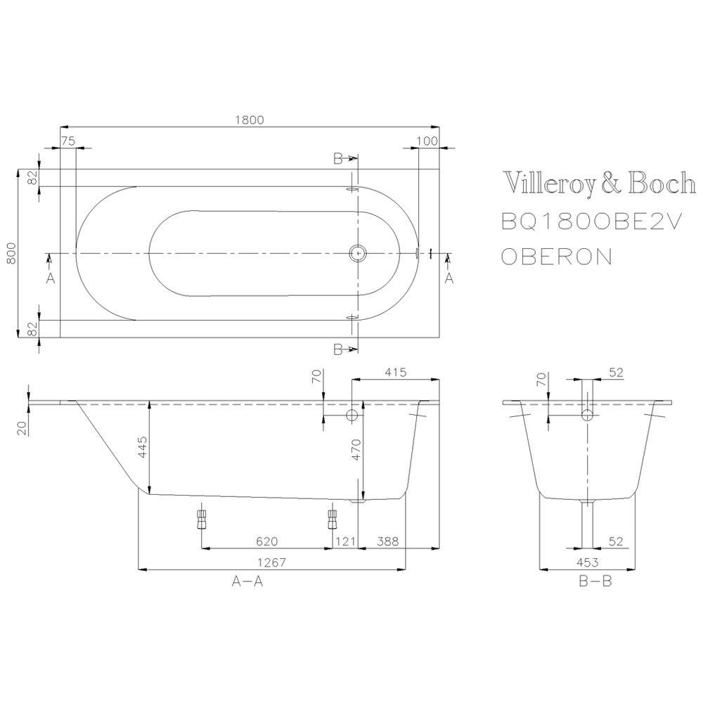 Badewanne Villeroy Und Boch Oberon : Villeroy & Boch Oberon Solo Badewanne 180 x 80 cm UBQ180OBE2V-01 ...