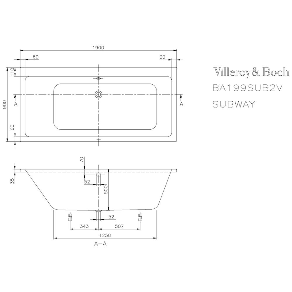 villeroy boch subway duo badewanne 190 x 90 cm uba199sub2v 01 megabad. Black Bedroom Furniture Sets. Home Design Ideas