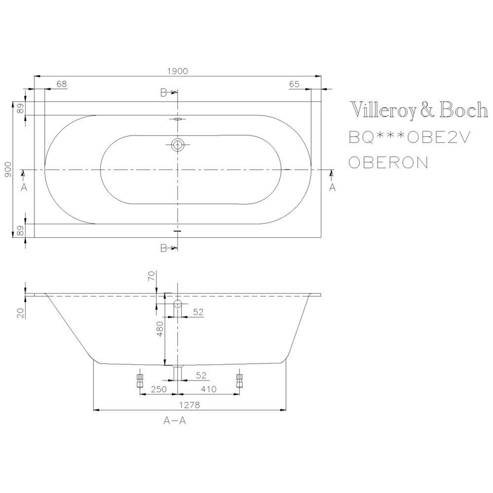 villeroy boch oberon duo 190 x 90 cm ubq199obe2v 01. Black Bedroom Furniture Sets. Home Design Ideas