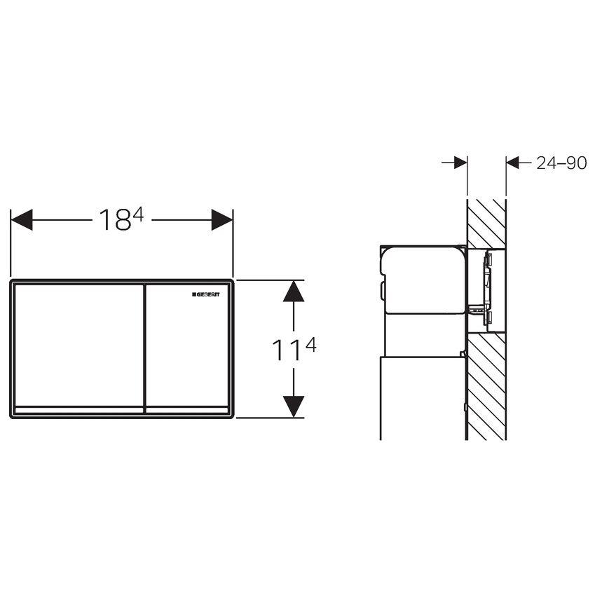 geberit bet tigungsplatte omega 60 f r 2 mengen sp lung bet tigung aus glas megabad. Black Bedroom Furniture Sets. Home Design Ideas