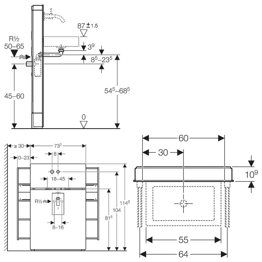 geberit monolith sanit rmodul f r waschtisch f wandarmatur megabad. Black Bedroom Furniture Sets. Home Design Ideas