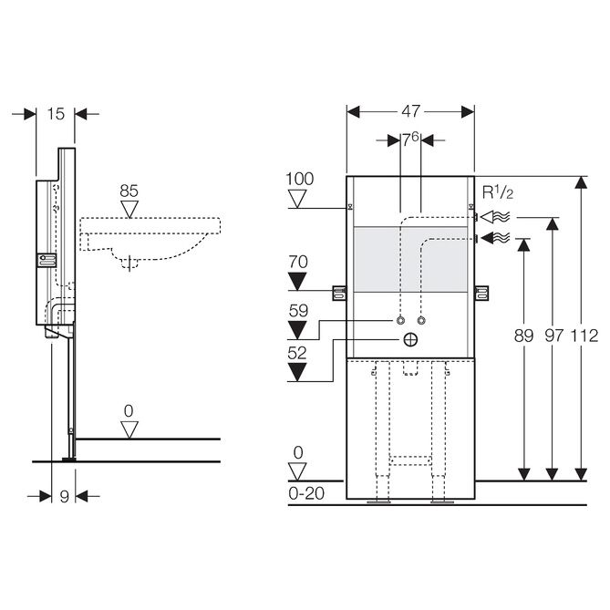 geberit sanbloc baustein f r waschtisch 112 cm. Black Bedroom Furniture Sets. Home Design Ideas