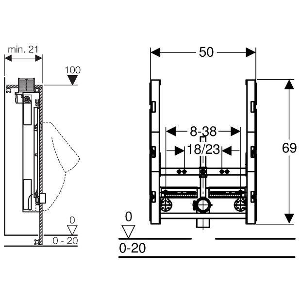 geberit gis element urinal universal 100 cm bet tigung von oben megabad. Black Bedroom Furniture Sets. Home Design Ideas