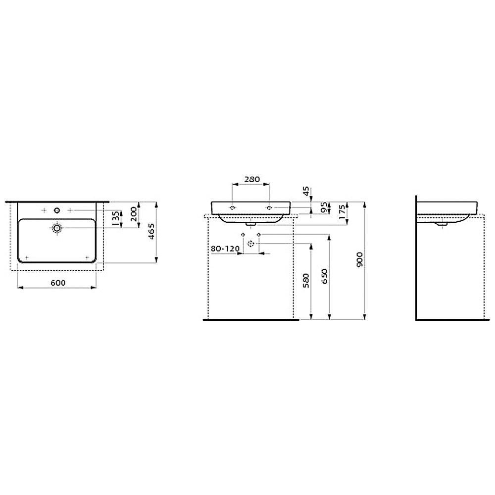 laufen pro s aufsatzwaschtisch 60 cm mit hahnloch und berlauf h8169630001041 megabad. Black Bedroom Furniture Sets. Home Design Ideas