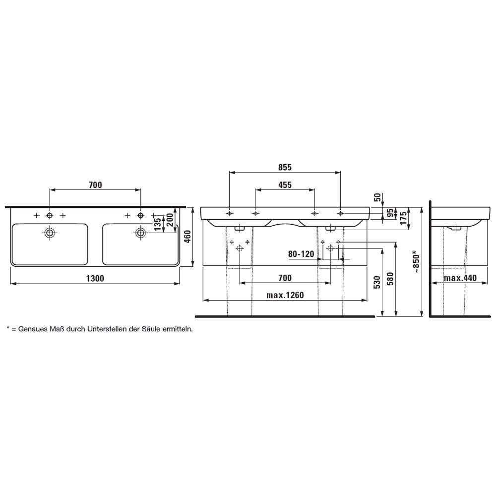 Doppelwaschtisch maße  Laufen Pro S Doppelwaschtisch 130 cm unterbaufähig, mit Hahnloch ...