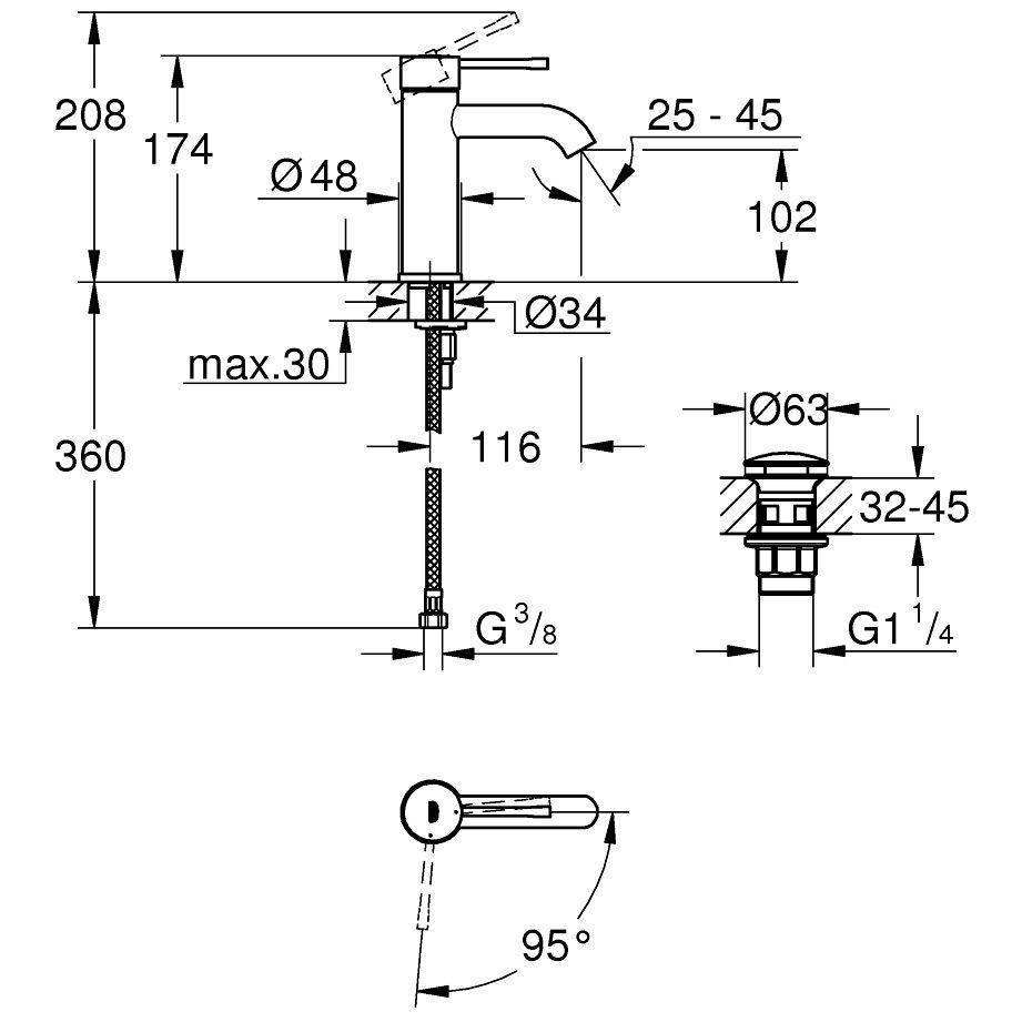 Grohe Essence Einhand-Waschtischbatterie S-Size mit Push-open ...