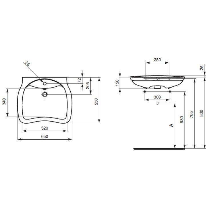 ideal standard san remo waschtisch barrierefrei 65 cm mit berlauf megabad. Black Bedroom Furniture Sets. Home Design Ideas