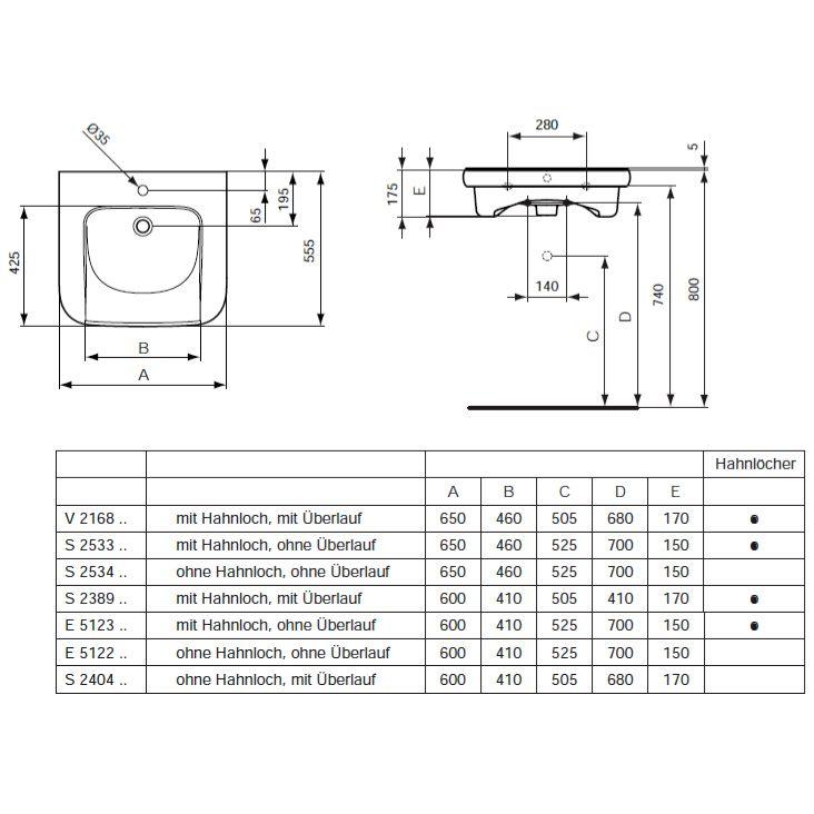 Waschbecken maße standard  Ideal Standard Contour 21 Waschtisch unterfahrbar 60 cm - MEGABAD