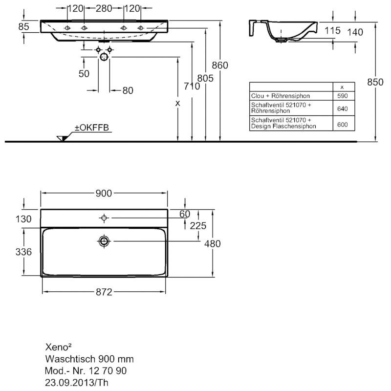 keramag xeno2 waschtisch 90 x 48 cm 127090000 megabad. Black Bedroom Furniture Sets. Home Design Ideas