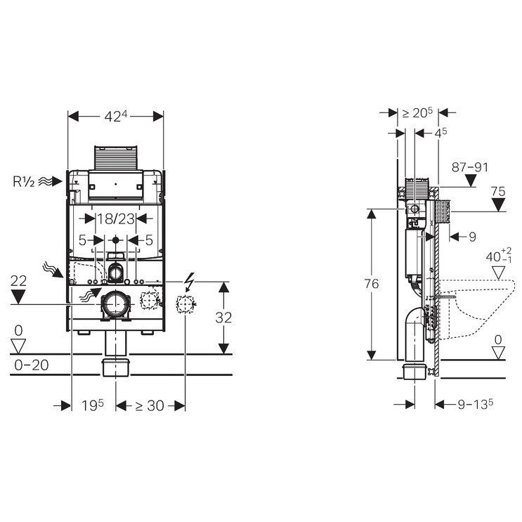 geberit gis element wand wc 87 cm mit omega up sp lkasten megabad. Black Bedroom Furniture Sets. Home Design Ideas