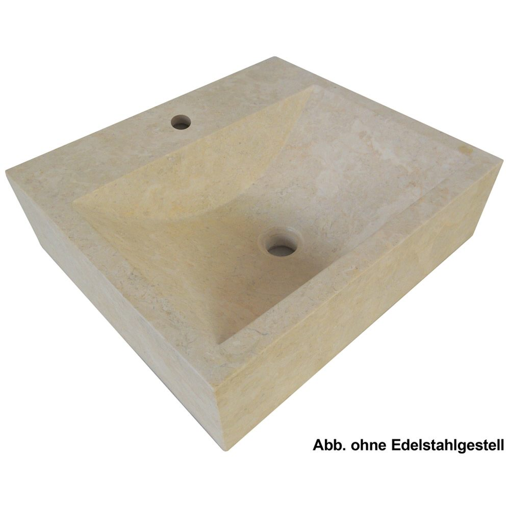 megabad bhutano marmor aufsatzwaschtisch 50 x 46 cm mit edelstahl gestell mit 1 hahnloch megabad. Black Bedroom Furniture Sets. Home Design Ideas