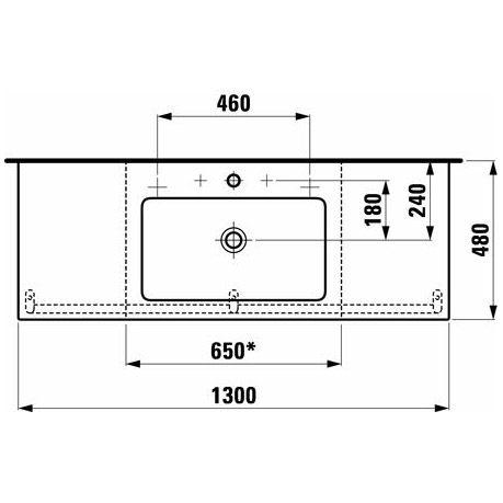 laufen living square waschtisch 130 cm ohne hahnloch h8164350001091 megabad. Black Bedroom Furniture Sets. Home Design Ideas