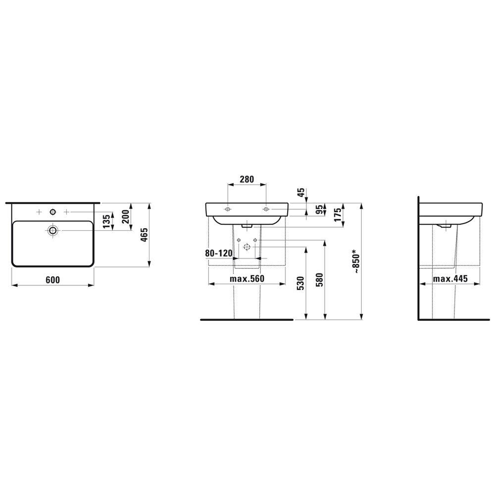 laufen pro s waschtisch 60 cm ohne hahnloch mit berlauf h8109630001091 megabad. Black Bedroom Furniture Sets. Home Design Ideas