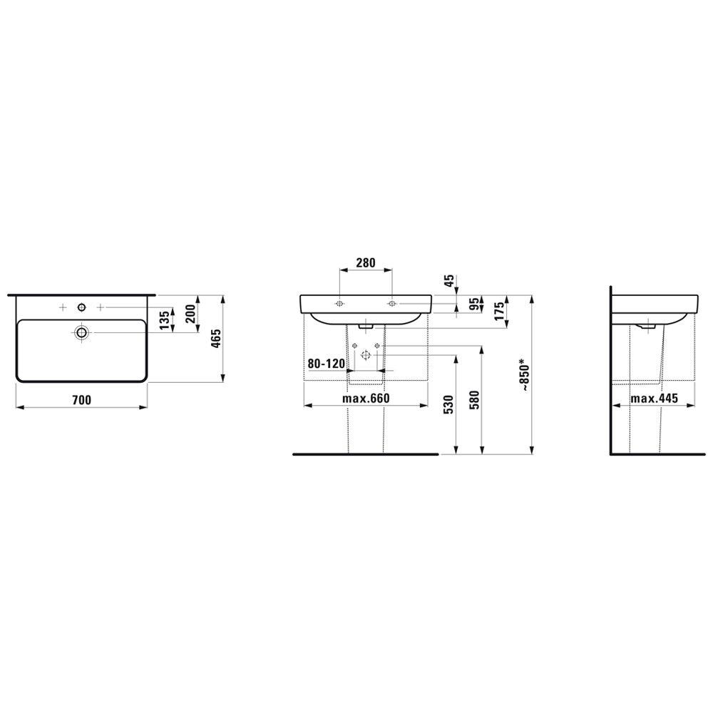 laufen pro s waschtisch 70 cm mit 1 hahnloch und berlauf h8109670001041 megabad. Black Bedroom Furniture Sets. Home Design Ideas