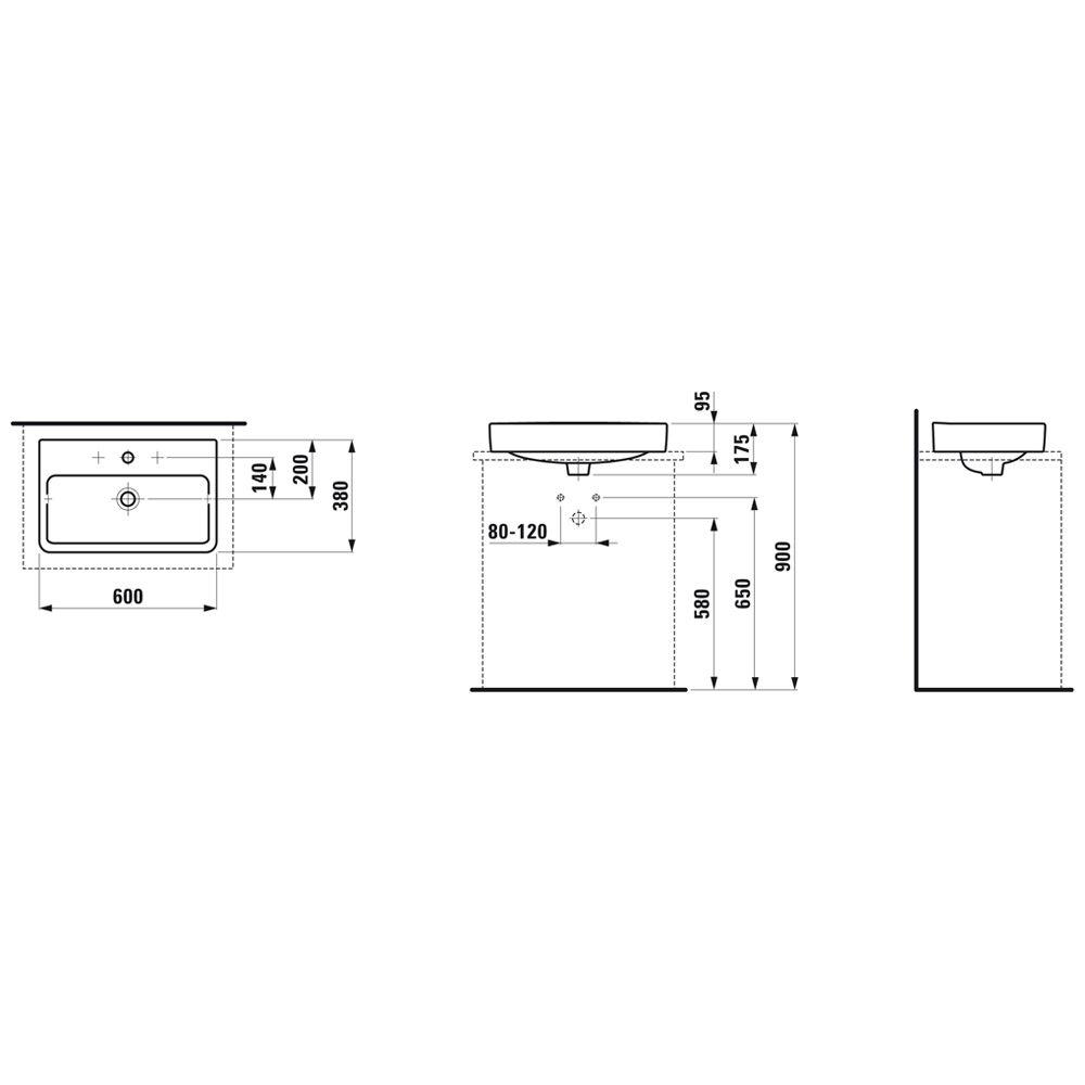 laufen pro s waschtisch schale 60 cm mit hahnloch und berlauf h8129530001041 megabad. Black Bedroom Furniture Sets. Home Design Ideas