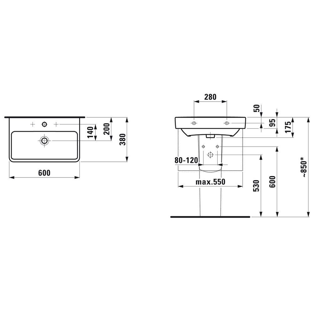 laufen pro s compact waschtisch 60 cm ohne hahnloch mit berlauf h8189590001091 megabad. Black Bedroom Furniture Sets. Home Design Ideas