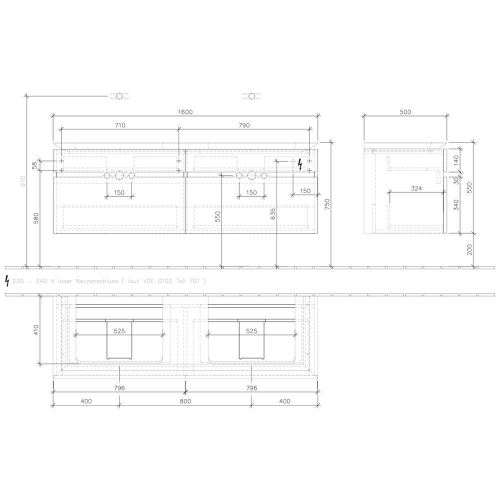 villeroy boch legato waschtischunterschrank 160 cm mit 4 ausz gen f r 2 waschtische b15460pn. Black Bedroom Furniture Sets. Home Design Ideas