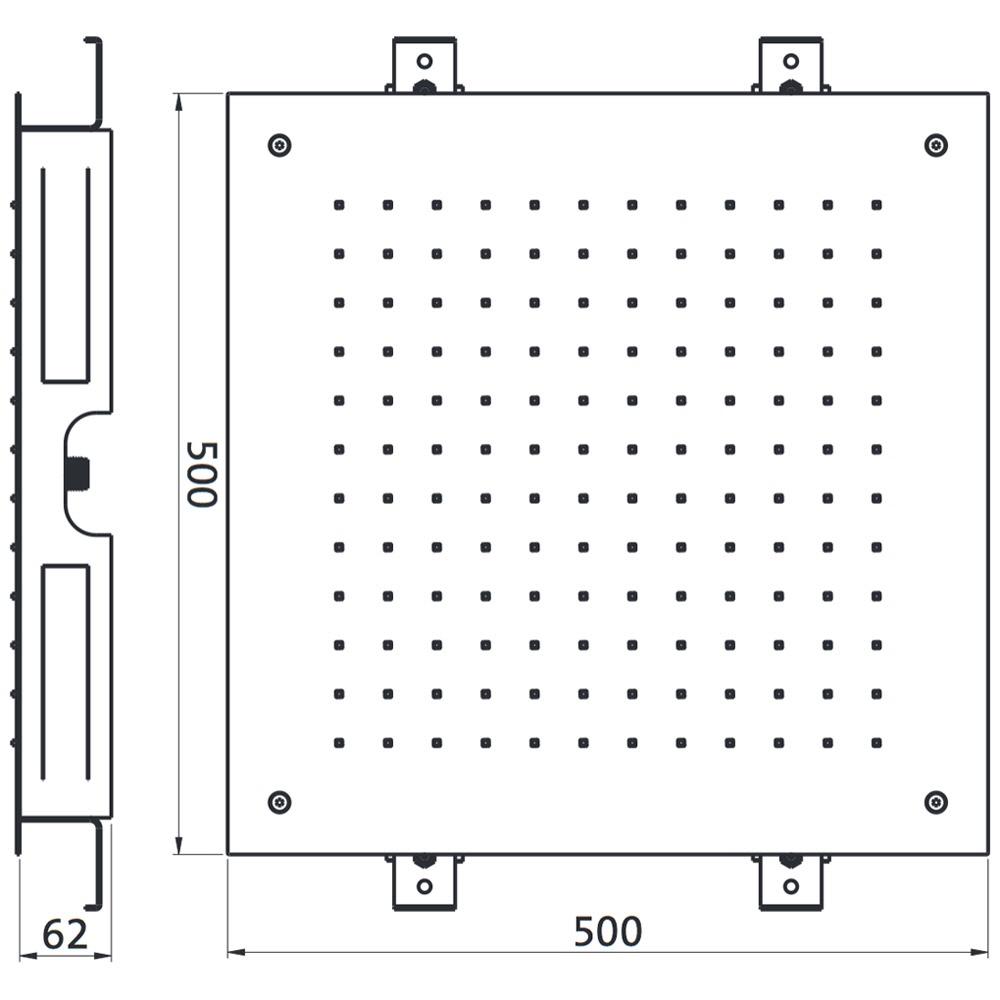 herzbach living spa regenbrause multifunktion 3 deckeneinbau 50 x 50 cm megabad. Black Bedroom Furniture Sets. Home Design Ideas