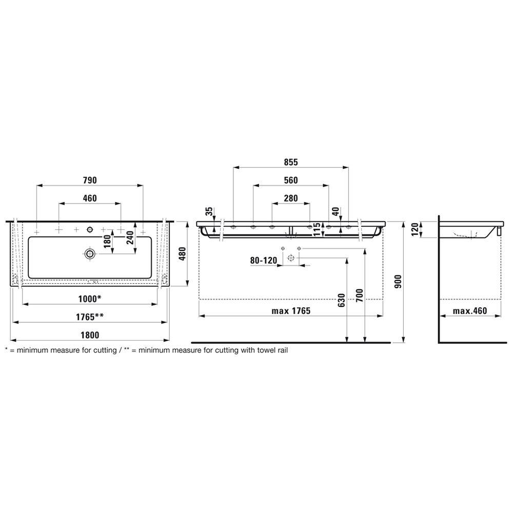 laufen living square waschtisch 180 cm h8164380001041. Black Bedroom Furniture Sets. Home Design Ideas