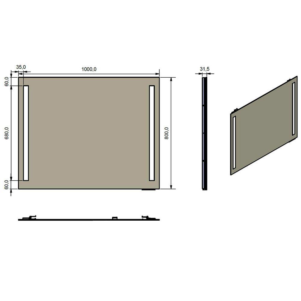 Megabad architekt 300 led spiegel 100 x 80 cm made by for Spiegel 200 x 100