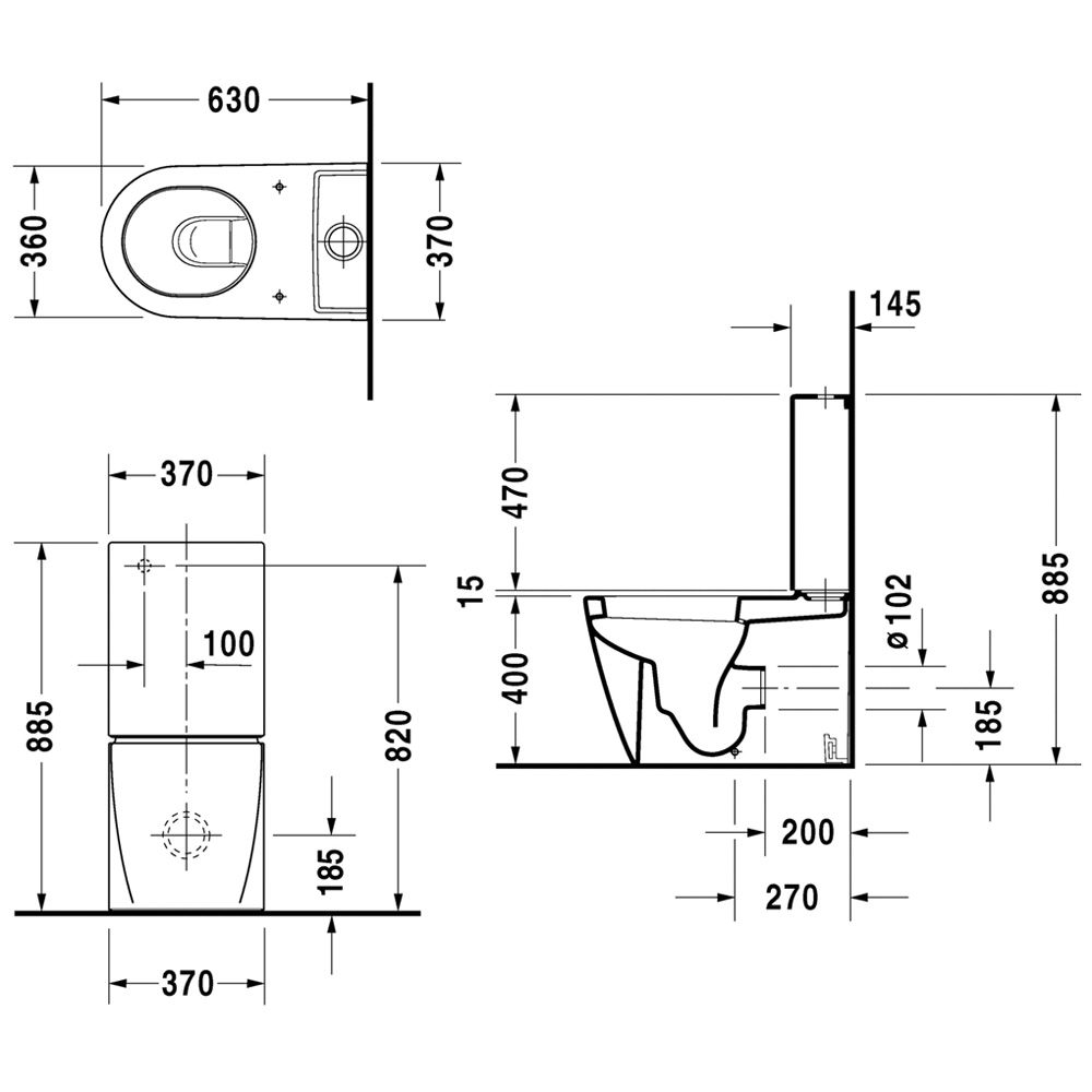 duravit starck 2 stand wc f r kombination art 2145090000 megabad. Black Bedroom Furniture Sets. Home Design Ideas