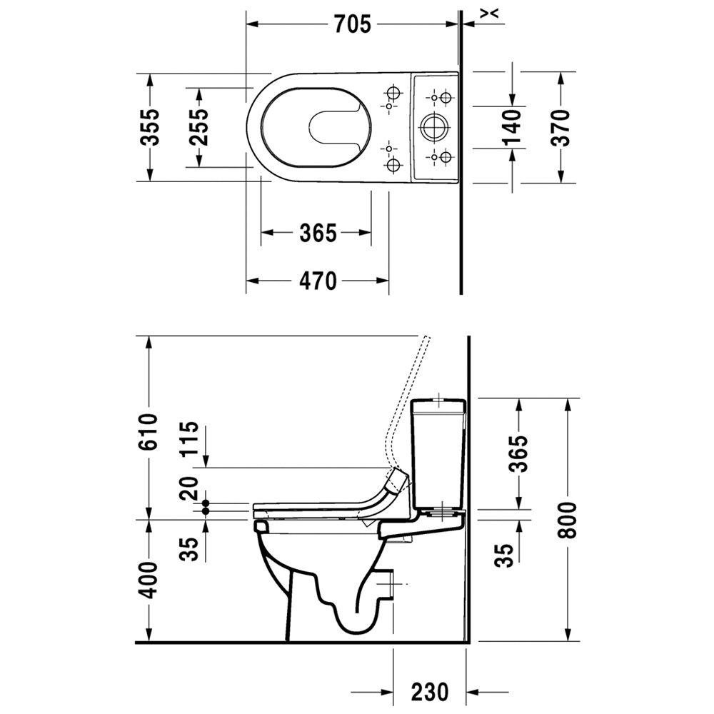 duravit starck 3 stand wc kombination 214159 f r sensowash megabad. Black Bedroom Furniture Sets. Home Design Ideas