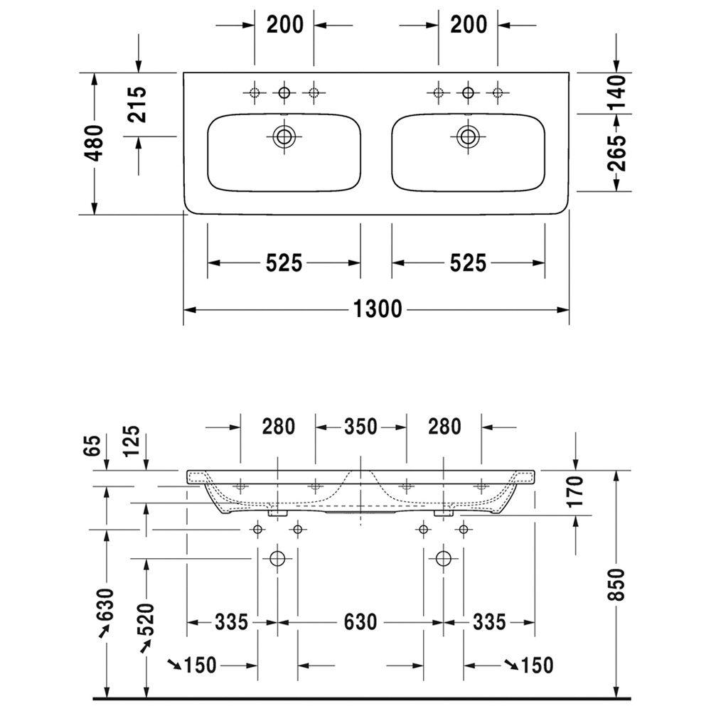 Duravit DuraStyle Möbel-Doppelwaschtisch 130 cm, mit 1 Hahnloch je ... | {Doppelwaschtisch duravit 58}
