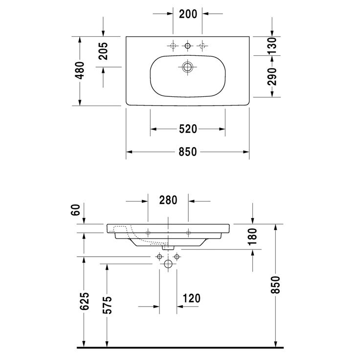 duravit d code m belwaschtisch 85x48x18 megabad. Black Bedroom Furniture Sets. Home Design Ideas