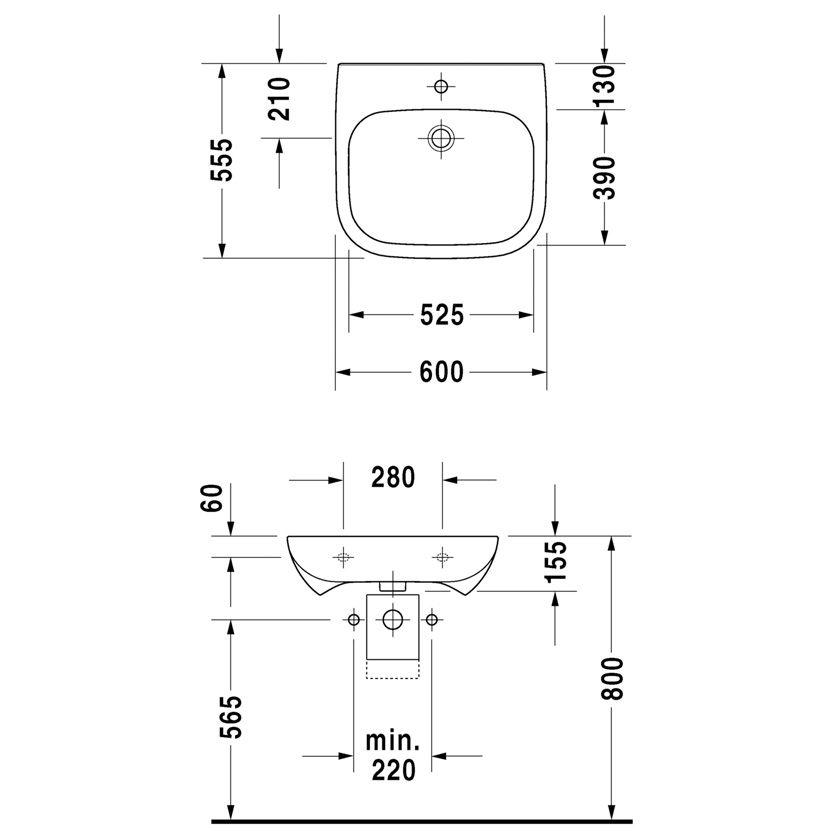 duravit d code vital waschtisch 60 cm. Black Bedroom Furniture Sets. Home Design Ideas